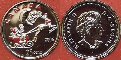 Proof Like 2006P Canada Santa Color 25 Cents From Mint's Set
