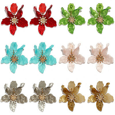 Fashion Women Charm Boho Painting Big Flowers Ear Stud Earrings Jewellery Gift
