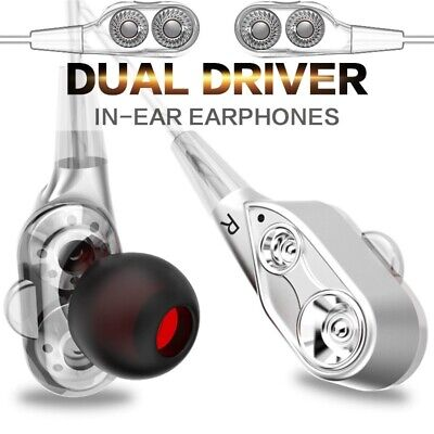 Dual Driver Earphones Super Bass Noise Isolation HIFI Stereo In-Ear Earbuds