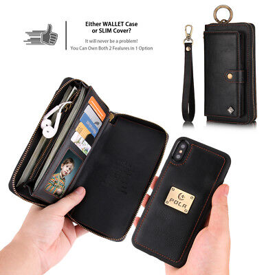 For iPhone X Xs XR MaxZipper Purse Detachable Leather Wallet Case Magnetic Cover