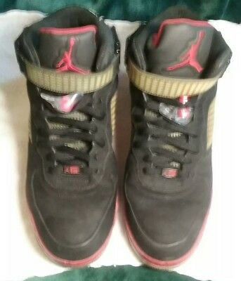 timeless design ad848 64dc1 Air Jordan 5 Air Force 1 Shoes Red Black High Tops 318608-062 Mens size
