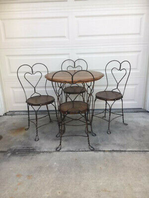 Vintage/original Oak Ice Cream Parlor Table And Chair Set