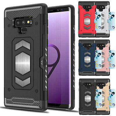 Shockproof Case with Card Slots Holder For Samsung Galaxy S10 Plus S9 S8 S7 Edge