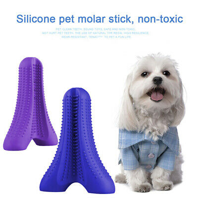 Silicone Pet Dog Toothbrush Brushing Chew Toy Stick Teeth Cleaning Oral care-RA3