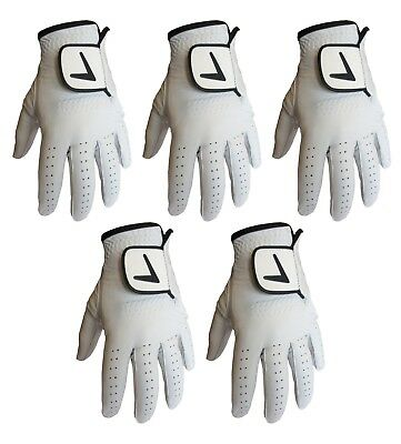 5x BRAND NEW PREMIUM FULL LEATHER CABRETTA GOLF GLOVES MENS LH MEDIUM
