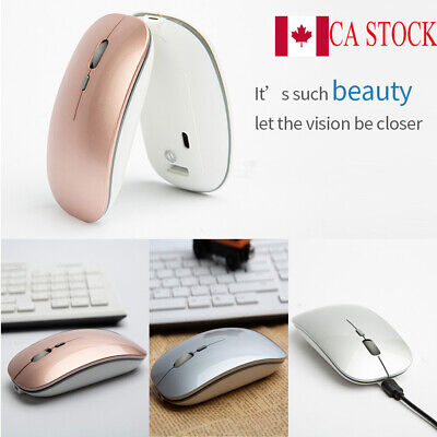 CA 2.4GHz Optical Wireless Slim Mouse USB Rechargeable Receiver for Laptop PC
