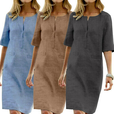 ZANZEA 8-24 Women Plus Size Sundress Loose Baggy Office Work Ladies Shift Dress
