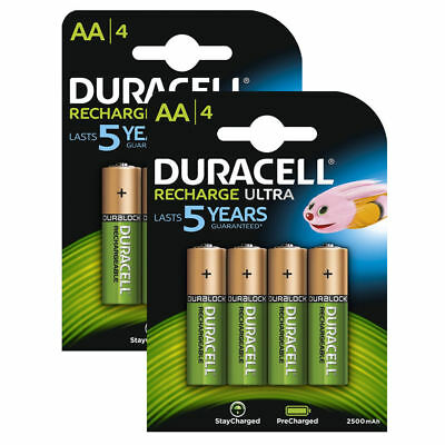 8 X Duracell Ultra AA 2500mAh NiMH Rechargeable Batteries Pre Charged