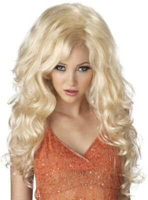 Bombshell Blonde Dolly Parton Long Curly Big Hair Doll Pin Up Womens Costume Wig