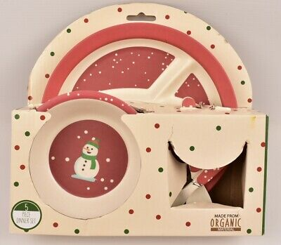 BERIWINKLE Baby 5pc Christmas Dinner Set, Made from Organic Material, New