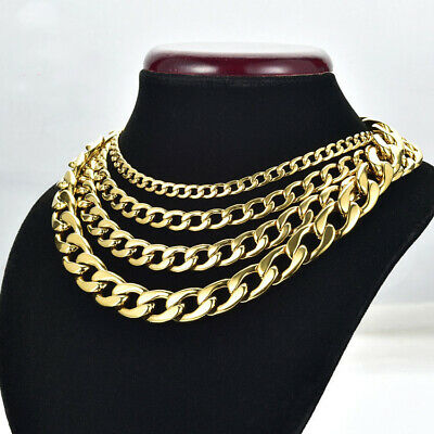 """6-15mm Mens Boy Gold Heavy Stainless Steel Curb Cuban Link Chain Necklace 18-31"""""""