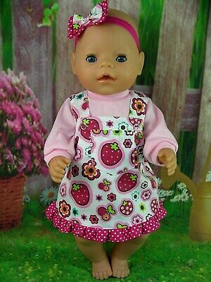 "Dolls clothes for 17"" Baby Born~Cabbage Patch Doll~STRAWBERRY~ FLOWERS PINAFORE"