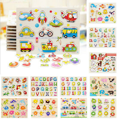 AU Kids Toddler Wooden Jigsaw Puzzle Baby Alphabet Letters Animal Learning Toys