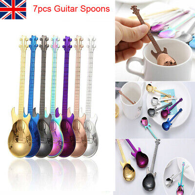 Stainless Steel Rainbow Guitar Shape Coffee Mixing Spoon Cold Drink Tea Spoons