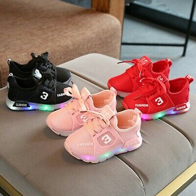 Kids Girls Babies LED Light Up Trainers Strappy Sneakers Shoes Toddler Shoes UK