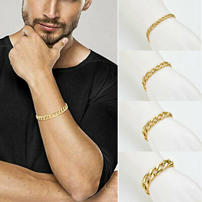 Mens Women Real Solid Yellow Gold Steel Curb Bracelet Bangle Chunky Rings Chain
