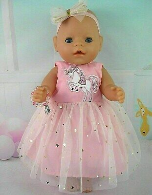"Dolls clothes for 17"" Baby Born doll~PINK UNICORN~GOLD STARS DRESS~BRACELET"