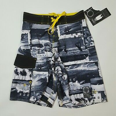 ee1e4baf79d2 NEW OP Ocean Pacific Flex Mens 4 Way Stretch Board Shorts 28 Gray Yellow NWT