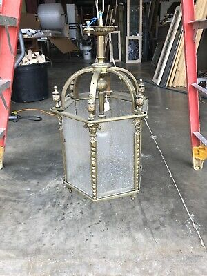 Antique Heavy Cast Brass Pendant Porch Light Foyer 24 X 14