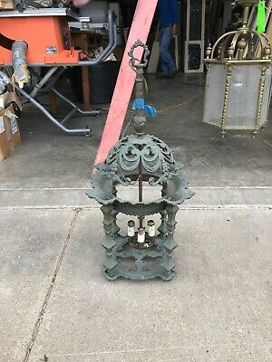 Antique ornate cast brass pendant light fixture 28.5 x 14