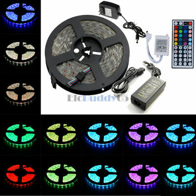 5M 300LEDS 3528 5050 5630 RGB White LED Strip Light 44Key Remote DC 12V Power US