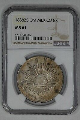 1838 Zs Om Mexico 8R First Republic Reales Ngc Certified Ms 61 Mint Unc (002)