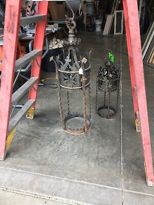 2 Available Price Each Antique Gothic Iron Pendant Light Fixtures 31.5 X 13