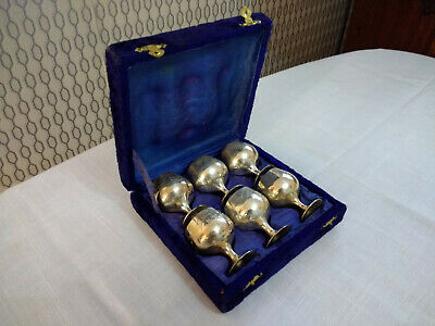 Vintage Set of 6 Silver Plated Small Mini Goblets Cups Boxed Set