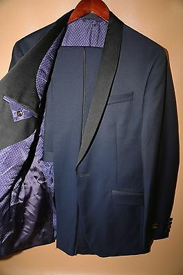 b5c173ee667513 TED BAKER JOSH Trim Fit Navy Shawl Lapel Tuxedo Suit Sz 42R Pants ...
