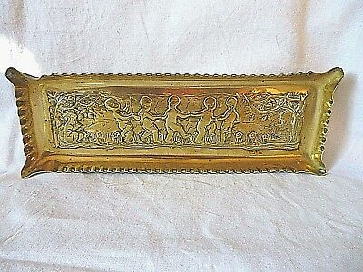 ANTIQUE Arts & crafts hand made Cherubs dancing brass pen tray  9 x 3""