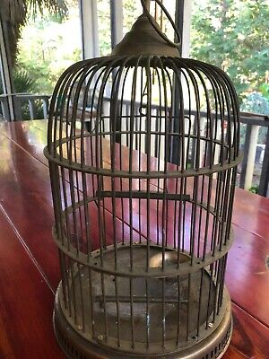 "Antique Large Decorative Solid Brass Bird Cage 18""H"