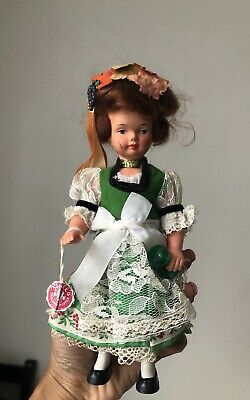 Vintage Trachten Puppen Hard Plastic Doll German Girl Doll 21cmT Collectable