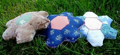 New hand-made pin-cushions. Hexagon patchwork design from vintage fabrics.