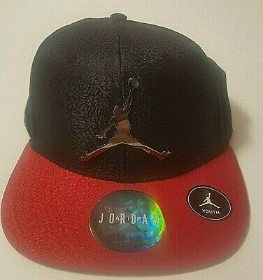 a9af7009277 Nike Jordan Jumpman Youth Boys Snapback Hat Cap Black RED CAP Chrome Logo