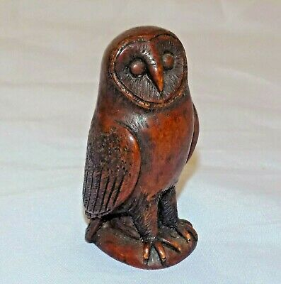 Antique Black Forest Finely Hand Carved and Detailed Dark Wood Study of an Owl