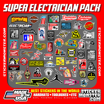 NEW ELECTRICIAN (55+) Hard Hat Stickers HardHat Decals, Lineman Reddy IBEW