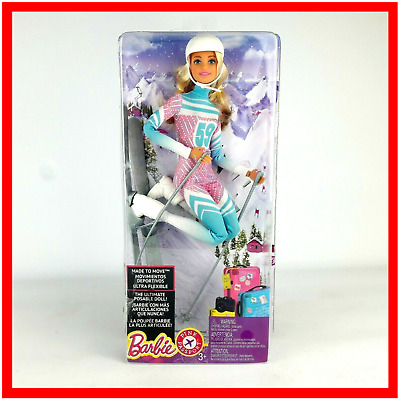 Barbie Made to Move Pink Passport Winter Skier Doll Pink Boxed New