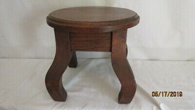 "Antique Mission Arts & Crafts Oak Plant Stand or Stool 9.75"" Tall & 10.5"" Across"