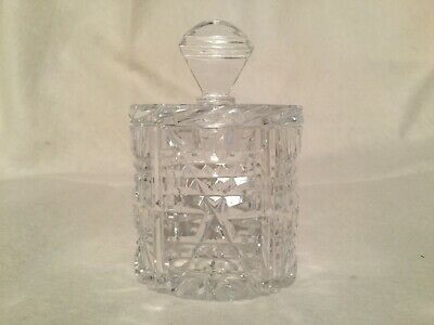 Vintage Crystal Cut Glass Honey Jam Mustard Pot Marmalade Table Sauce Retro Dish