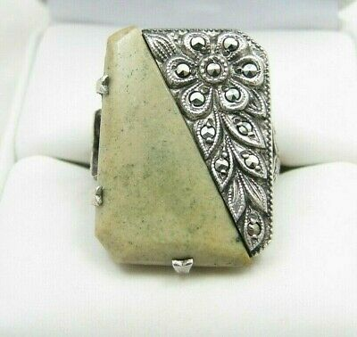 Vintage Art Deco Sterling Silver Marcasite & Stone Marble Ring Sz 7