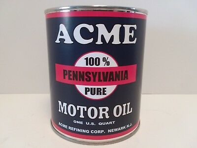 ACME Vintage Motor Oil Can 1 qt. - ( Reproduction Tin Collectible )