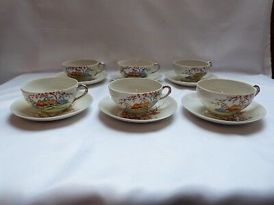 Vintage Klimax Japan hand painted porcelain cups and saucers, set of six.