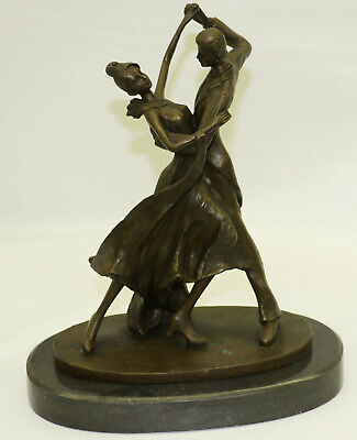 100% Solid Bronze Gorgeous Museum Quality Tango Dancers Bronze Sculpture Figure