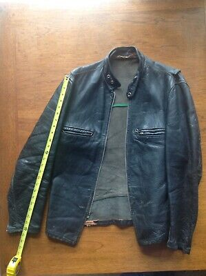 Vintage Leather Motorcycle Jacket Men S Serval Zip Amf Harley