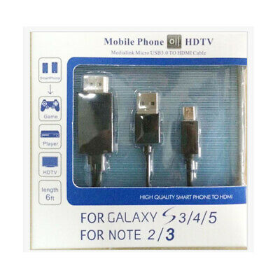 Micro-USB to HDMI 1080P HDTV Cable Adapter for Samsung Galaxy S5 S4 Note 3 4 2M