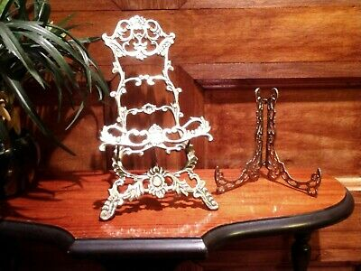 VTG Ornate BRASS PAIR of PICTURE Easels - PLATE DISPLAYS Rack Metal Book STANDS
