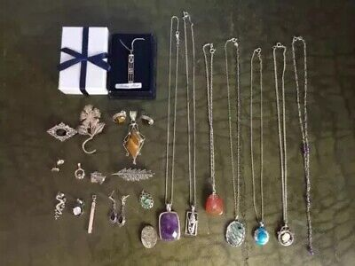 Joblot Collection Of Solid Silver Jewellery, Pendants, Brooches, Earrings Etc.