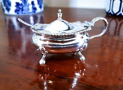 Antique Sterling Silver Mappin and Webb Mustard Pot with Spoon