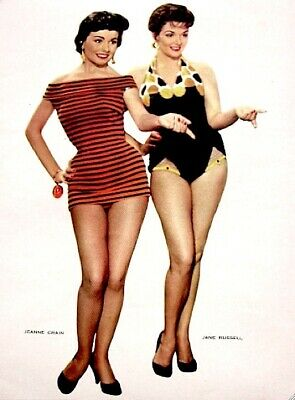 Jane Russell Jeanne Crain 1955 Vintage Pinup Litho Photo Publicity Promo COA