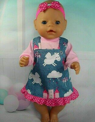 "Dolls clothes for 17"" Baby Born~Cabbage Patch Doll~UNICORN DENIM PINAFORE SET"